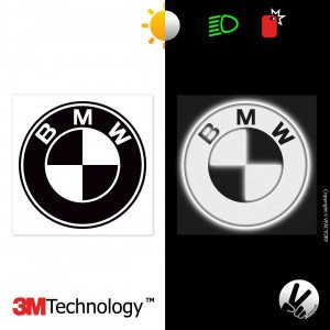 BMW logo - version 1 - Black retro-reflective sticker / white reflective - 3M Technology™