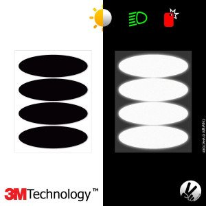 3M™ Reflective Helmet Stickers - BLACK - OVAL 1