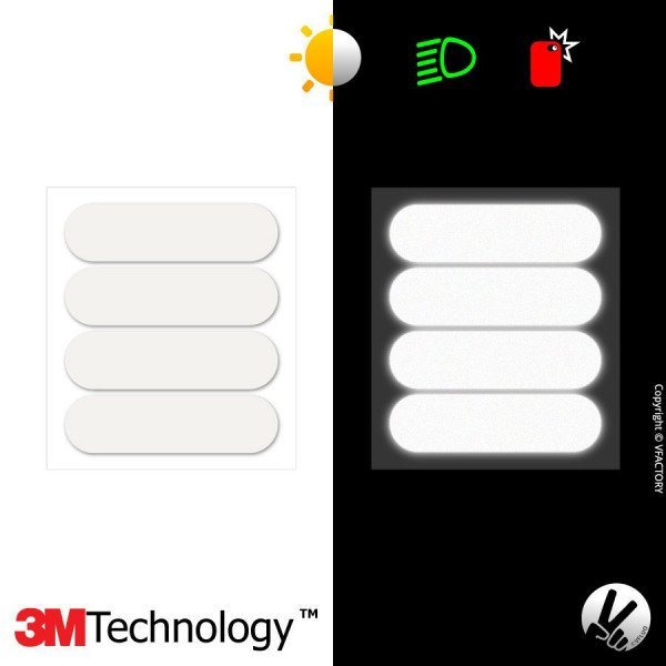 3M™ Reflective stickers kit for Motorcycle Helmet - Black & Colors - STANDARD 1