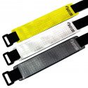 The 3 VFLUO ARMTECH™ motorcycle retro reflective armbands : grey / black, white and fluo yellow